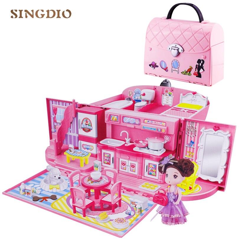 Miniaturas casa de bonecas Diy casa bolsa de acessórios da boneca bonito crianças villa luz música brinquedos de cozinha menina brinquedo Terno para crianças
