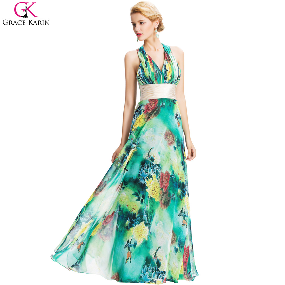Flower Print Pattern 2017 Vintage Grace Karin Sexy Halter Backless ...