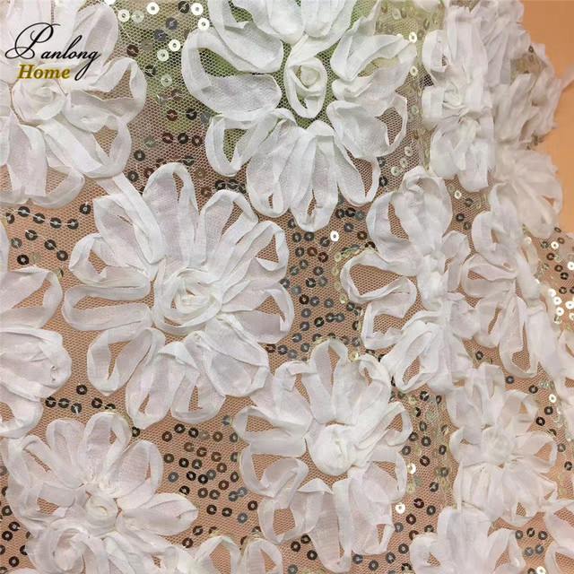 Panlonghome 1yard Lot White Lace Sequins With Flowers For Stage Wedding Bridal Dresses