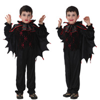 Free Shipping Children Devil Prince Bat Vampire Costume Halloween Carnival Masquerade Party Fancy Dress Kids Boy Cosplay Clothes