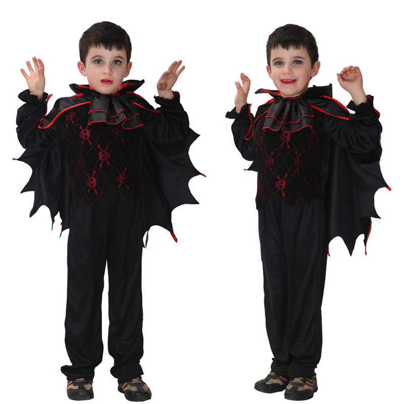 Free Shipping Children Devil Costume Halloween Carnival Masquerade Party Fancy Dress Kids Boys Bat Vampire Cosplay Clothes