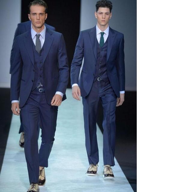 Mode Stil Manner Anzug Dunkelblau Hochzeit Des Brautigams Beste Mann