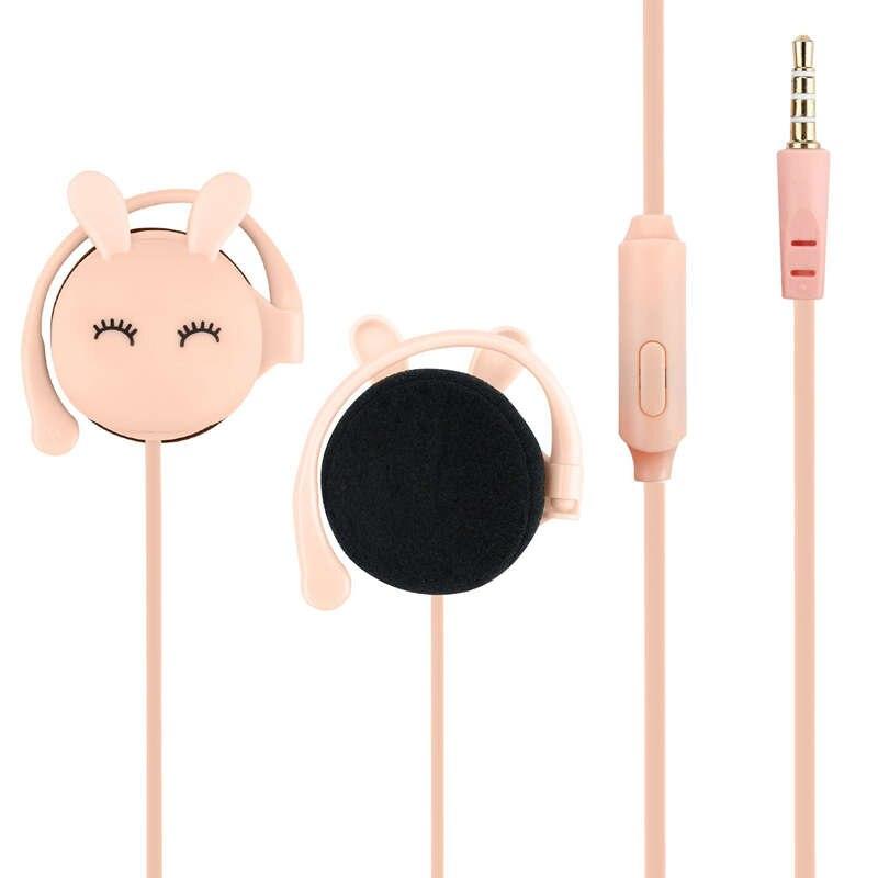 Cartoon Rabbit Ear Hook Wired Earphone Sport Running Stereo headsets Children Girl Headset For Mobile Phone in Phone Earphones Headphones from Consumer Electronics