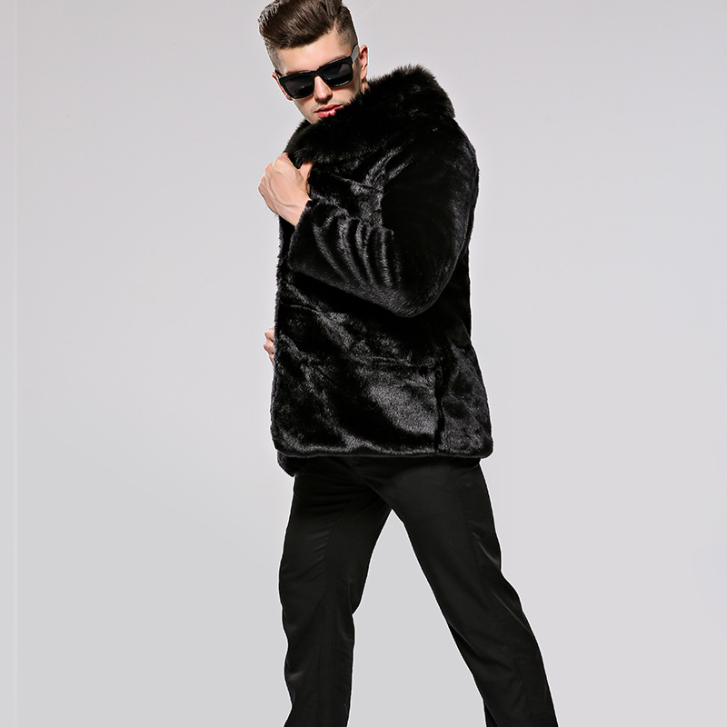 Men's fur mink leather imitation fur artificial leather winter coat new HN144