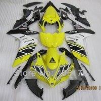 Лидер продаж, R1 впрыска ABS обтекатель для Yamaha YZF R1 2007 2008 Race Bike желтый Черный и белый Обтекатели (Термопластавтоматы)