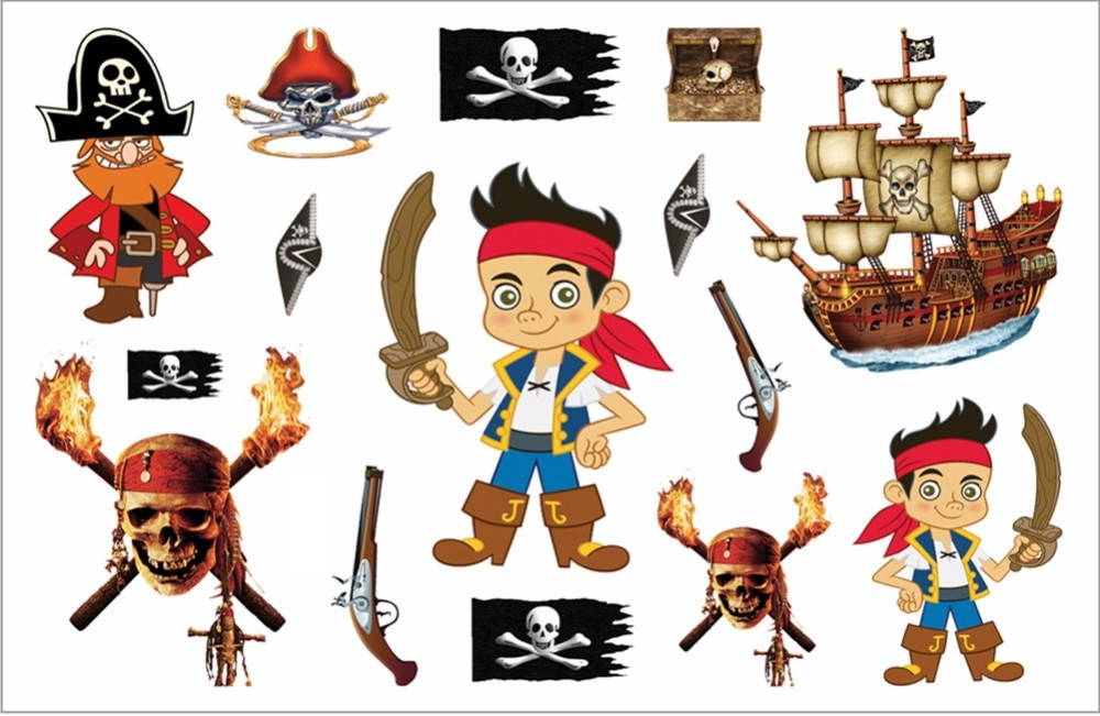 SHNAPIGN Pirates of Carribean Child Temporary Tattoo Body Art Flash Tattoo Stickers 17*10cm Waterproof Henna Styling Sticker 18