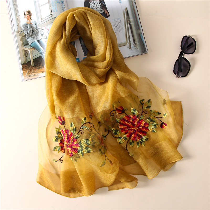 2019 new luxury brand women 39 s scarf high quality Embroidery wool scarves summer silk scarf shawls wraps Bandana Female Foulard in Women 39 s Scarves from Apparel Accessories