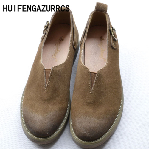 HUIFENGAZURRCS-Female fashion lazy shoes,2017 new European Original handmade genuine leather shoes retro leisure flat shoes huifengazurrcs new genuine leather