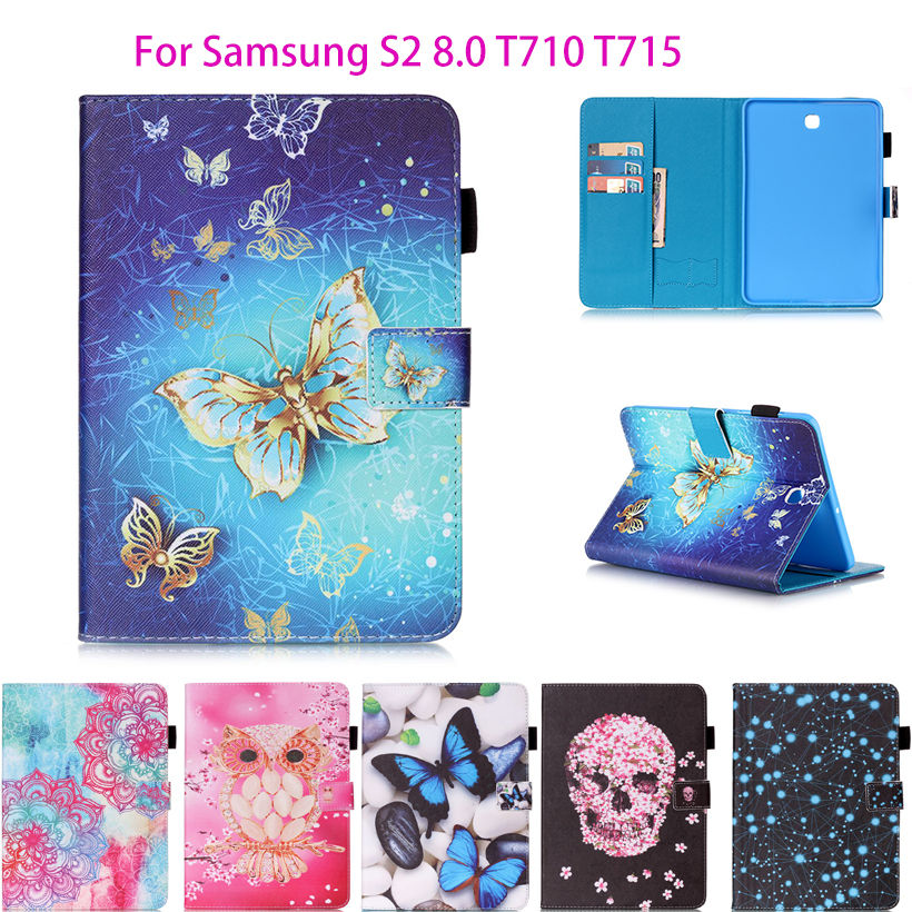 Tab S2 8.0 inch PU Leather Case For Samsung Galaxy Tab S2 8.0 T710 T715 Case Cover Tablet Fashion Butterfly Pattern Shell Funda new x line soft clear tpu case gel back cover for samsung galaxy tab s2 s 2 ii sii 8 0 tablet case t715 t710 t715c silicon case