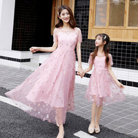WLG family matching clothes mother and daughter floral pink blue mesh dresses mommy and me fashion dress