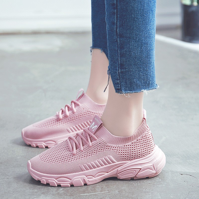 Fashion 2019 Casual Shoes Woman Summer Comfortable Breathable Mesh Flats Female Pink Sneakers For Girl C0008 in Women 39 s Vulcanize Shoes from Shoes