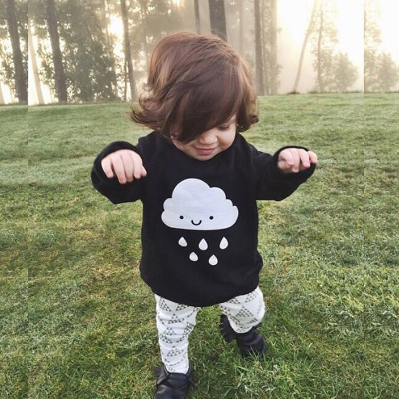 Children Choses 2017 Fashion Baby Boys Girls Knitted Sweaters Clothes Cloud Rain Black Sweaters Fashion Baby Sweaters Clothes