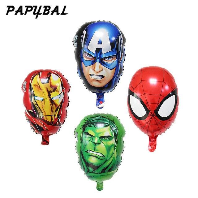 4 pçs/lote Capitão América Homem De Ferro Hulk SpiderMan Balões Balões Folha Cabeça 55*33 CM O Herói Avengers balões de aniversário decoração do partido brinquedos