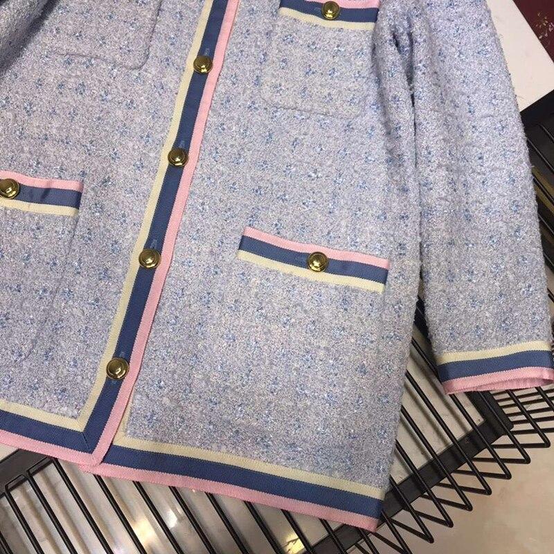 Manches Mélange Bleu Femme Élégant Femmes Veste Laine À Printemps Longues Manteau Outwear Tweed PpqdHgxInw