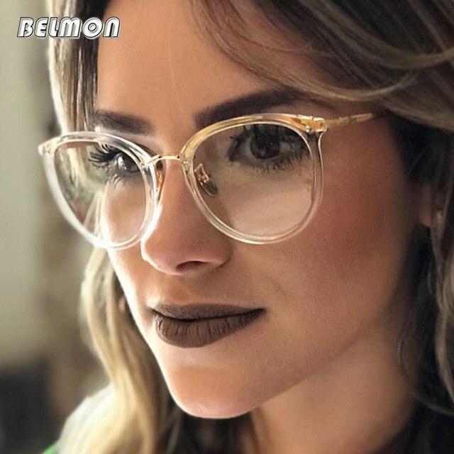 0525765b546b Belmon Spectacle Frame Women Eyeglasses Computer Prescription Myopia Optical  For Female Eyewear Clear Lens Glasses Frame RS522
