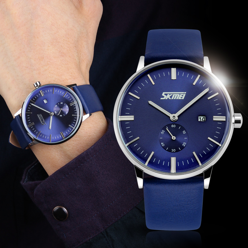 bbd5e7250f6 SKMEI 9083 Relógios de Luxo Da Marca Clássico relógio de quartzo relógio  Masculino moda ocasional genuínos homens Pulseira de Couro relógio de pulso  Relogio ...