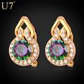 U7 Crystal Earrings For Women Gold Plated Luxury Cubic Zirconia Push Back Stud Earrings E741