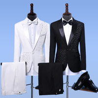 S XXL 2018 suit sets men singer host dress posted drilling decoration stage singer costumes