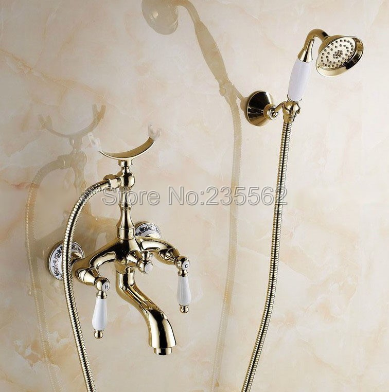 где купить Golden Brass Porcelain Base Wall Mount Bathroom Shower Bathtub Faucet Set Dual Handle Mixer Tap + Ceramic Handheld Spray ltf415 дешево