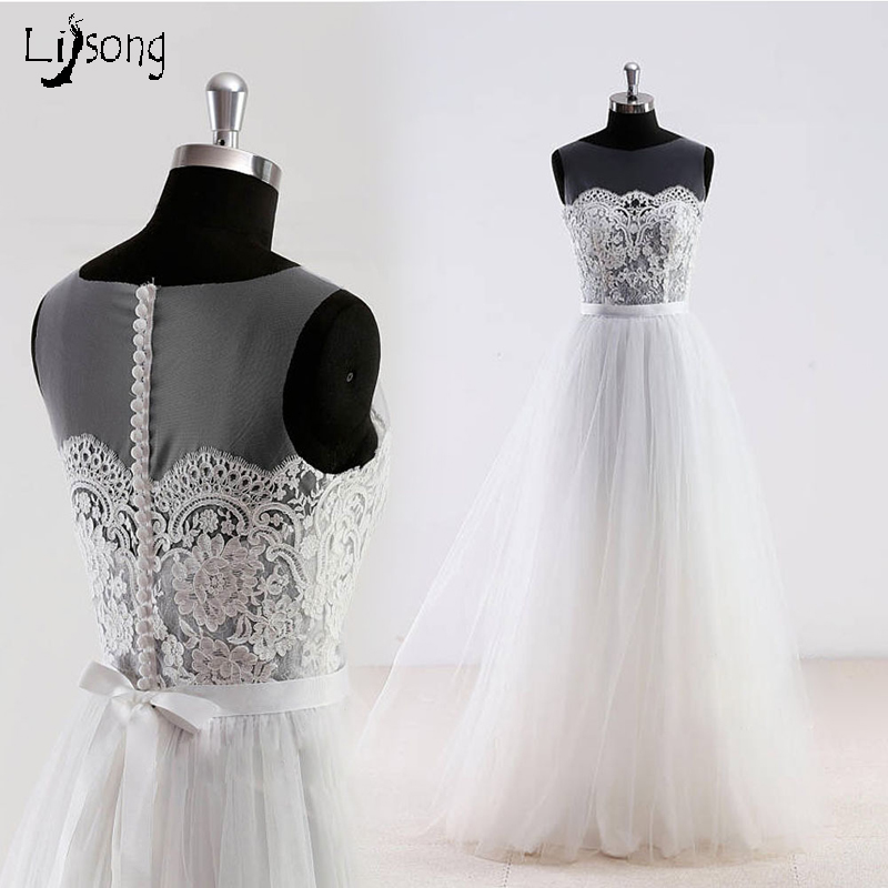 Us 7743 13 Offpretty Simple Lace Tulle Beach Wedding Dresses 2018 Button Sash Bow A Line Simple Cheap Wedding Gowns Vestidos De Novia In Wedding