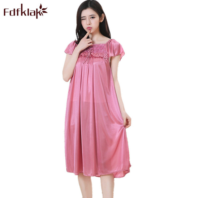 f45430e001529 Fdfklak 2018 Summer Sleeveless Nightgown For Pregnant Women Maternity  Clothes Maternity Nightwear Silk Pregnancy Sleepwear F96