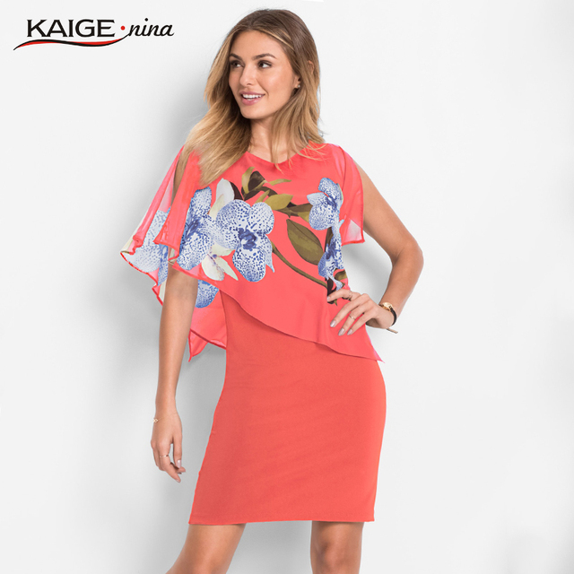 Hot Sale Elegant Women's Summer Autumn Print O-Neck Dresses Sleeveless Casual Knee-Length 2 Color 18052