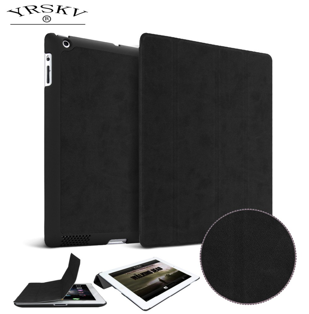 Case for iPad 2 iPad 3 iPad 4 YRSKV Ultra Slim Light weight PU high quality deer leather Smart Auto Sleep Wake Tablet Case