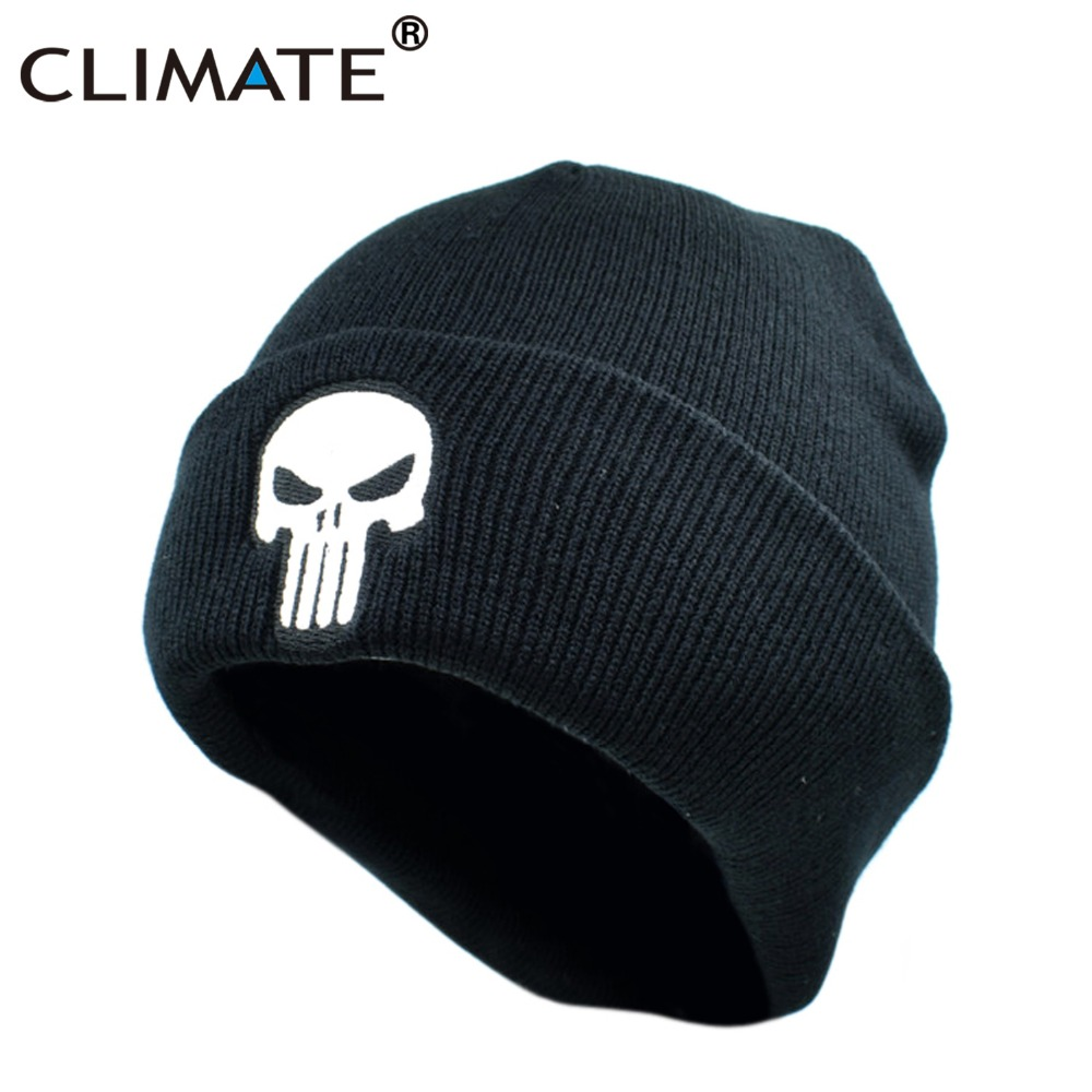 CLIMATE The Punisher Cool Black Skulls Winter Warm Beanie s