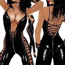 Frauen Sexy Kostüm PVC Leder Damen Gabelung Latex Zipper Body Catsuit Erotische Dessous Vorne Nach Nach Spitze up clubwear