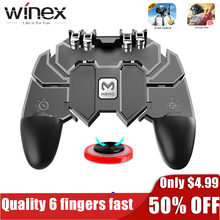 Gamepad Pubg Controller With Free Android Joystick /Quality 6 Finger Mobile Game Pad Controller Game Players For IPhone Xiaomi(China)
