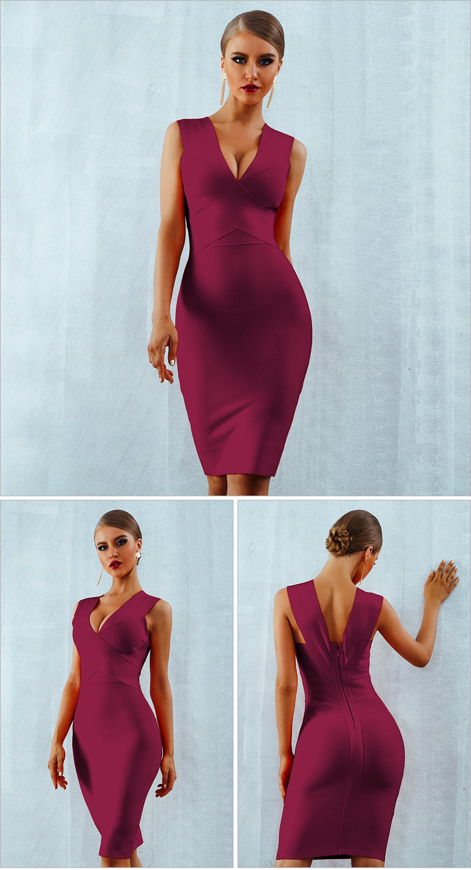 ADYCE Summer Women Bandage Dress Vestidos Verano 2019 Orange Red Tank Sexy Deep V-Neck Sleeveless Bodycon Celebrity Party Dress 7