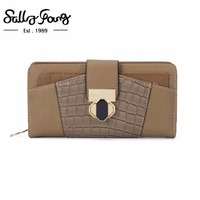 2017 Sally Young Women Wallet Long Purse Hasp Closure Wallet Feminina Women Fashion Solid Patchwork Women