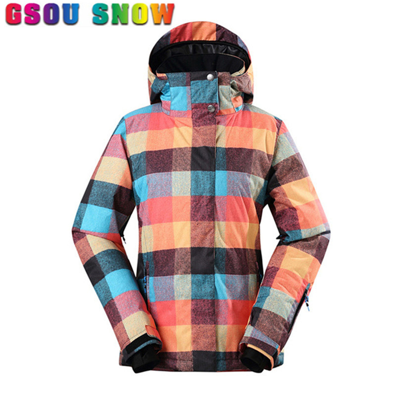 2017 Gsou Snow Women Ski Jacket Waterproof 10000 Breathable 10000 Winter Snowboard Jacket Outdoor Mountain Female Ski Snow Coats