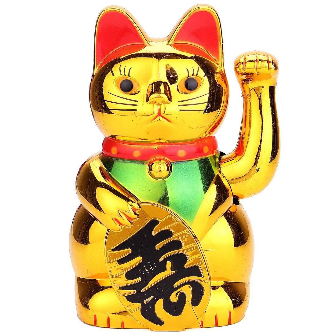 Chinese Gold Maneki Neko Cute Lucky Welcome Cat Electric Craft Art Shop Hotel Home Decoration Accessories Miniature Figurines