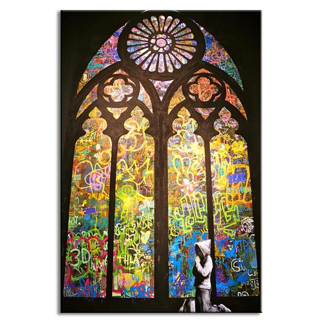 banksy art pray in church living room wall art home decorative picture on canvas - Living Room Church