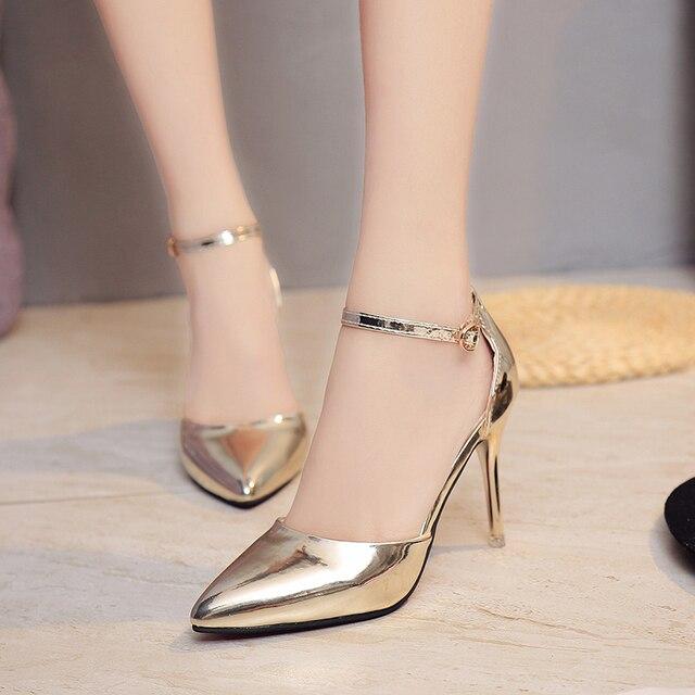 6eacbcc3105466 OL bureau dame chaussures femmes talons hauts robe chaussures argent femme  mariage chaussures bout pointu cheville