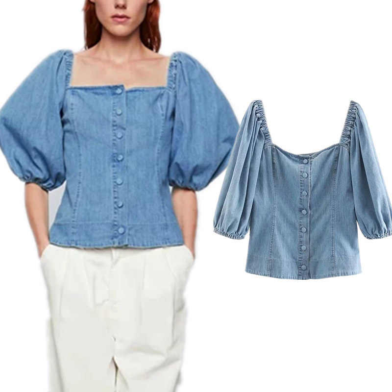 COZARII blusas mujer de moda 2019 square collar puff sleeve solid denim kimono blouse womens tops and blouses