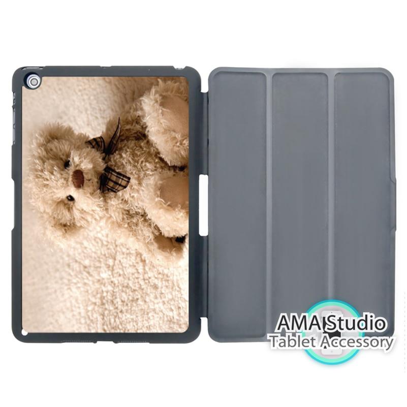 Fluffy Teddy Bear Smart Cover Case For Apple iPad Mini 1 2 3 4 Air Pro 9.7 Stand Folio Wake Up Sleep Function