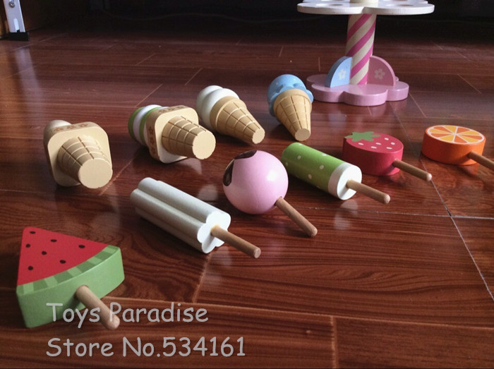 Baby Toys Simulation Magnetic Ice Cream Wooden Toys Set Pretend Play Kitchen Food Baby Infant Toys Food Birthday/Christmas Gift