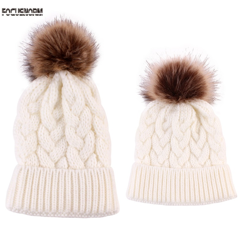 Clothing, Shoes & Accessories Women Kids Baby Mom Warm Winter Knit Beanie Fur Pom Pom Hat Lovely Ski Ball Cap