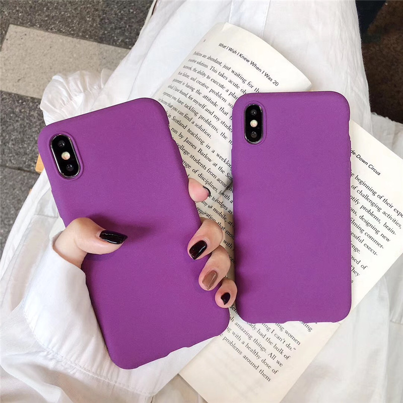 Matte Purple Solid Color Cover Phone <font><b>Cases</b></font> For Xiaomi Redmi Note 7 8 <font><b>8SE</b></font> 9 9SE Lite K20 Pro Soft Silicone TPU Back Protect Capa image