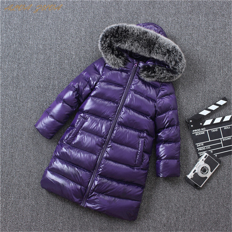 Children Winter Down Long-Jackets 2018 Kids Fox Fur Collar Coats For Boys Girls 4-6-8-10-12-14 Y Outerwear Parkas Coat Cyy351 fashion girls winter coat long down jacket for girl long parkas 6 7 8 9 10 12 13 14 children zipper outerwear winter jackets