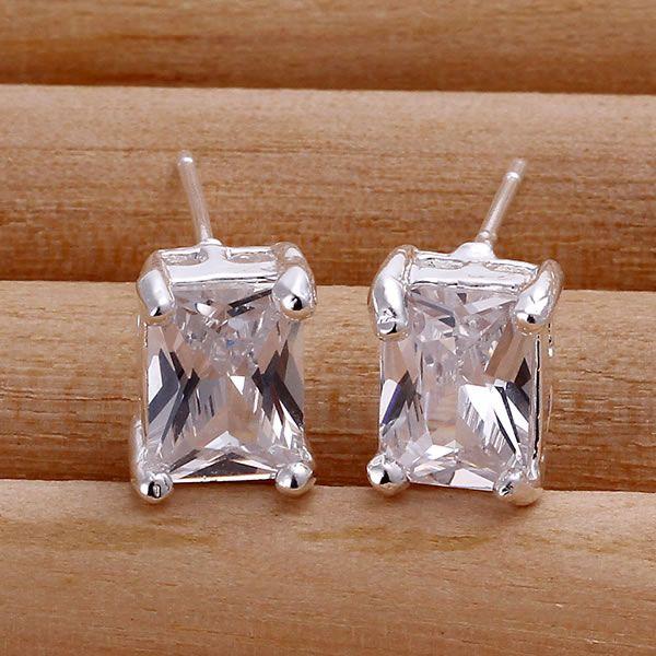 925 Jewelry Silver Plated Wholesale Free Shipping Earrings for women&men Rectangle White Gem /aekaivra aejaivqa LQ-E098