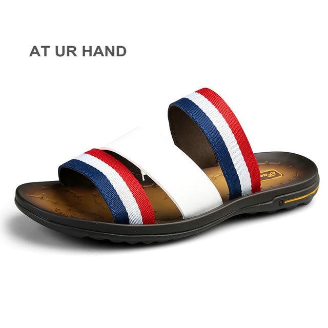 eeb8e40e1b18 Men Brand Summer Outdoor Slippers Waterproof Beach Shoes Men Striped  fashion Sandals size 38-44