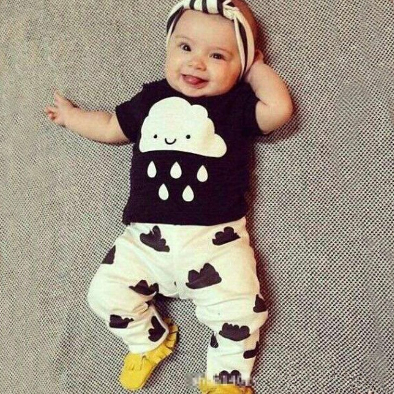 Hot sale baby clothes sets cotton European and American short-sleeved T-shirt + pants suit 0-2 years baby boy / girl clothes