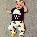 Venda quente a roupa do bebê conjuntos de algodão Europeus e Americanos curto-de mangas compridas T-shirt + calças terno 0-2 anos de bebê menino/menina roupas