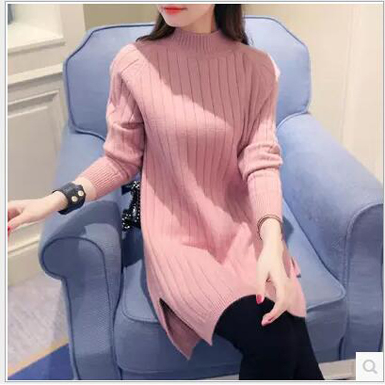 2018 Hot Sale Women Spring Autumn Long Sleeve Turtleneck Knit Casual Striped Sweater Dresses Woman Loose Pullovers Sweater C743