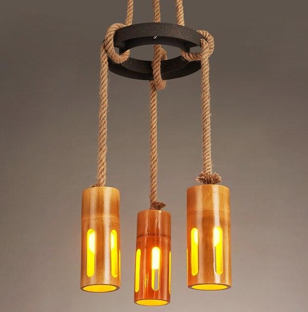 Us 171 0 25 Off Retro Loft Style Hemp Rope Bamboo Droplight Creative Vintage Pendant Light Fixtures Dining Room Led Hanging Lamp Home Lighting In
