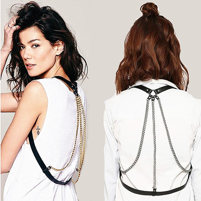 2016 Fashion genuine leather belt female exaggerated metal gold silver chain shoulder strap body belt femme high quality summer