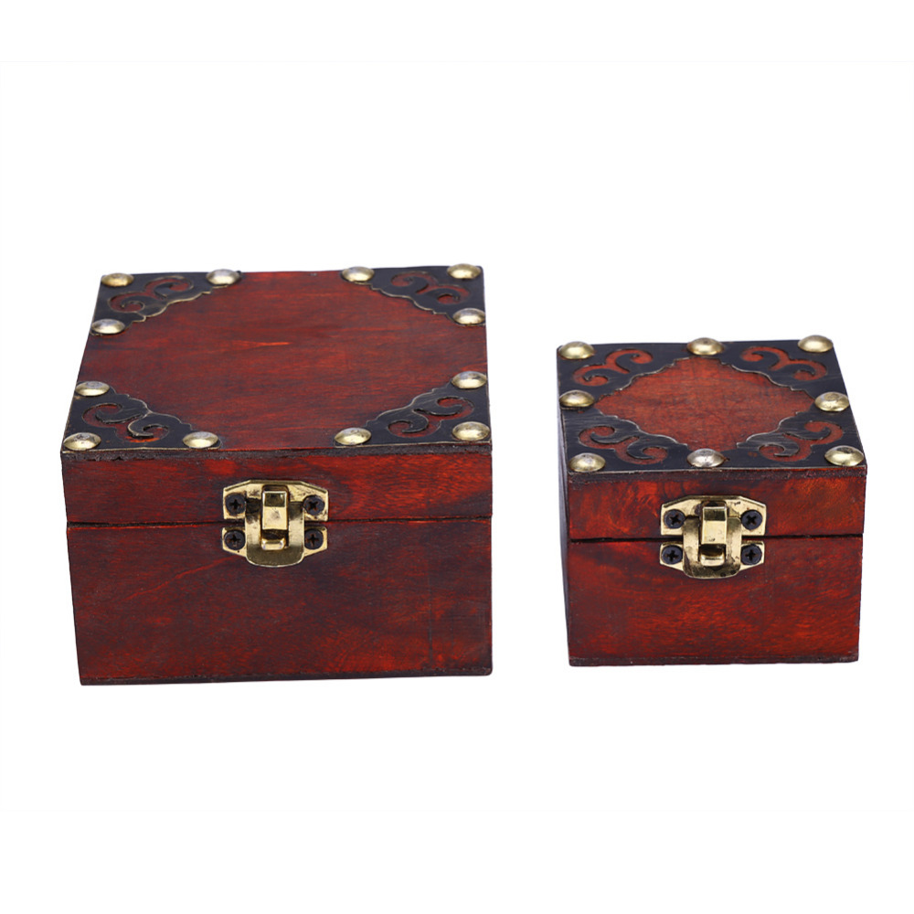 2pcs/set Classical Wooden Jewely Storage Box Case Holder Container Jewel Management Jewelery Home Decor